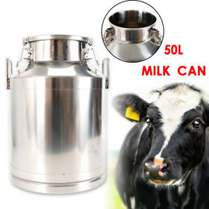 50l 13 25 Gallon Stainless Steel Milk Can 350mm 13 8inch Tote Jug Heavy Gauge