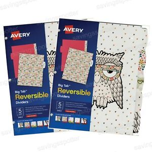 Avery Big Tab Reversible Paper Fashion Dividers 5 tabs 5 Colors Designs Owl