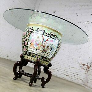 Chinese Porcelain Fish Bowl On Stand W Round Glass Top Dining Or Center Table