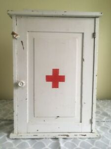 Antique Primitive Vintage Wood First Aid Medicine Cabinet