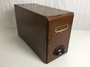 Antique Index Card Paper Drawer Advance Filing Desktop Wooden Box Storage Vtg
