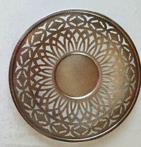 Vintage 1881 Rogers Hammered Silverplate Charger Plate Pierced Pattern 9 1 2