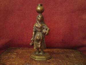 19thc Indian Bronze Villager Woman Carrying Water Pots And A Well Bucket