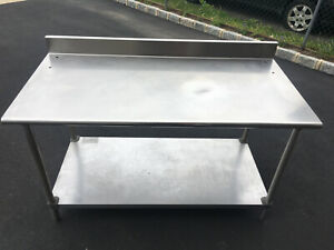 Stainless Steel Work Prep Commercial Kitchen Table 30 X 60 With Backsplash