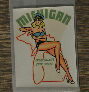 Original Vintage Travel Decal Michigan Pinup Hot Rod Trailer Camper Auto Old Gga