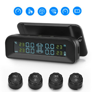Solar Power Car Tpms Wireless Tire Pressure Monitor System Lcd 4 External Sensor