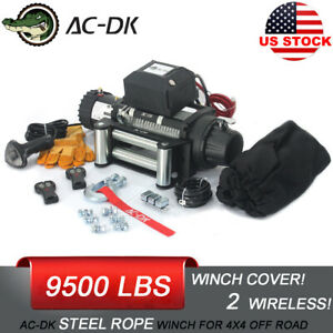 Ac dk 12v 9500 Lbs Electric Winch Steel Cable Towing Truck Trailer Jeep 4wd