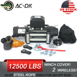 Ac Dk 12v Electric Winch 12500lb Waterproof Ip67 With Steel Rope And Winch Cover