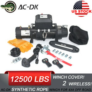 Ac Dk Waterproof Ip67 Electric Winch 12500lb With Synthetic Rope And Winch Cover