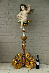 Xxl Antique Italian Church Wood Carved Putti Angel Holy Water Font Statue