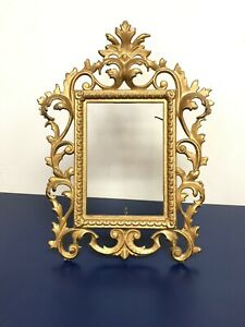 Antique Cast Iron Gold Frame 8 X 12 Victorian Vintage Rectangle Gilded 4 X 6