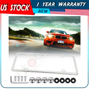 1x 4 Holes Slim Silver Stainless Steel License Plate Plate Frame W Screw Caps