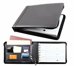 Business Check 7 Ring Binder For 3 up Checks Pu Leather Portfolio Checkbook Cove