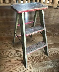 Antique Vintage Primitive Wood Metal 3 Step Folding Stool Ladder