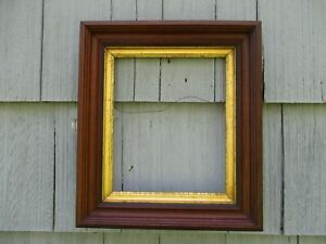 Antique 19thc Walnut Deep Wood Picture Frame With Early Glass Fits 10 X 12