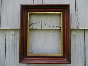 Antique 19thc Walnut Deep Wood Picture Frame With Early Glass Fits 8 X 10