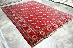 Vintage Persian Area Rug 8 5 X11 3 Bukhara Hand Knotted Wool Pile Red Carpet