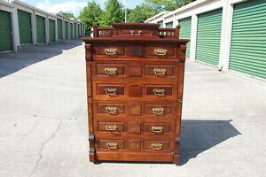 Fine Walnut Victorian Tall Lockside Chest Dresser With Fold Out Desk And Key