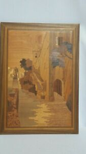 Marquetry Wood Inlay European Town Seaside Scene Wall Art Home Decor Pre Owned