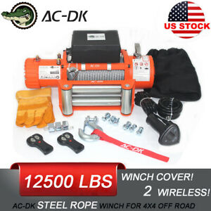 Ac Dk 12v Electric Winch 12500lbs Waterproof Ip67 With Steel Rope For Recovery