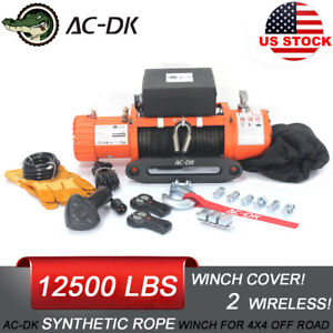 Ac Dk 12v Electric Winch 12500lb Waterproof Ip67 With Synthetic Rope For Offroad