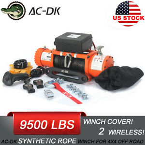 Ac Dk 12v 9500 Lb Electric Winch Synthetic Rope Towing Truck Trailer Jeep 4wd