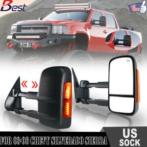 For 2003 2006 Silverado Chevy Gmc Power Heated Led Turn Signal Towing Mirrors
