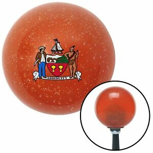 Assiduity Coat Of Arms Orange Metal Flake Shift Knob M t Usa Shifter Hurst Speed