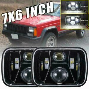 220w 7x6 5x7 Led Projector Headlight Hi lo Beam Drl For Jeep Cherokee Xj Truck