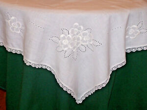 Exquisite Antique Linen Table Topper Whitework Embroidery Edwardian Era C1920