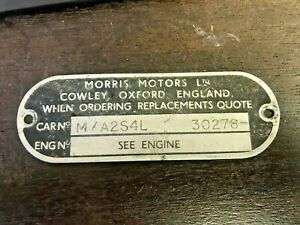 1960 s Morris Motors Ltd Mk1 Mini Cooper S Body Tag Door Plate no Vin Serial