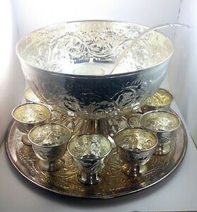 International Silver Company Silverplate Punch Bowl Set 13 Pieces