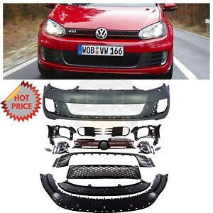 Vw Gti Conversion Plastic Front Bumper W Fog Lights For 10 14 Vw Mk6 Golf