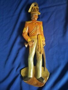 Large Vintage Soldier Hand Carved Wood 23 3 4 Tall Wall Hanger