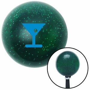 Blue Martini Glass M t Olive Green Metal Flake Shift Knob M t Usa Auto Truck Fly