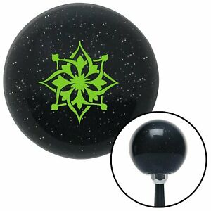 Green Abstract Flower Black Metal Flake Shift Knob M t Usa Shifter Drag Trans Si