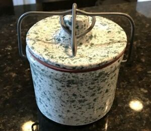 Vintage Green White Speckled Stoneware Cheese Butter Crock With Wire Bale Lid