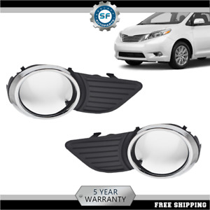 Front Fog Light Lamps Frame Cover Trim For 2011 12 13 14 15 Toyota Sienna Xle Le