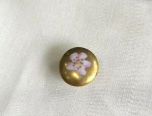 Vintage 5 8 Porcelain Button Stud Gold Tone Pink Flower Cl 13