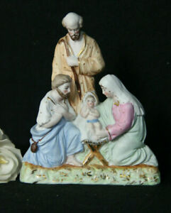 Antique German Porcelain Nativity Holy Family Jesus Religious Statue Group