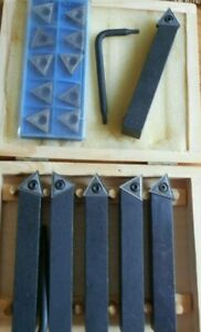 Pack Of 5 Indexable Carbide Tips Lathe Cutter Tool Set 1 2