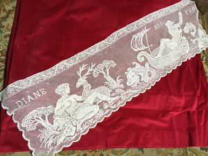 Vintage French Cotton Lace Panel Diane Neptune 1920s 120cms
