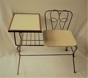 Mid Century Modern Decorative Wrought Iron Gossip Bench Telephone Stand