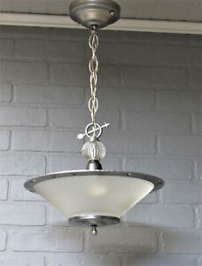 Vintage Antique Art Deco Slip Shade Ceiling Light Chandelier Restored 22 L