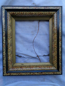 Antique Vintage Victorian Deep Well Marbled Look Picture Frame Fancy Estate Find