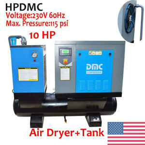 Us Air 10hp 115psi Vsd Rotary Screw Air Compressor Air Dryer 80gallon Tank