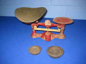 Antique Cast Iron Chatillon Sons No 4 Balance Scale W Weights General Store