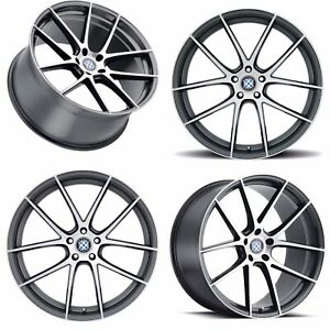 20 Beyern Ritz Rotary Forged Staggered Gunmetal Brushed Face Wheels Rims