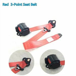 Red Retractable 3 point Car Safety Belt Seat Strap Buckle Metal Plate Adjustable