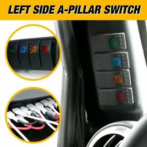 Black Left Side A Pillar 4 Switch Pod Panel Kit Fit Jeep Wrangler Jk 2007 2018